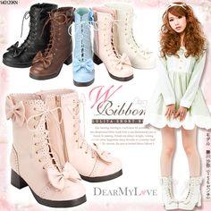 cute ribbon Lolita short boots