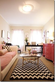 Cute small apartment | pink and black