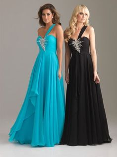 Alternate view of the Night Moves 6203 One Shoulder Flowy Evening Dress image