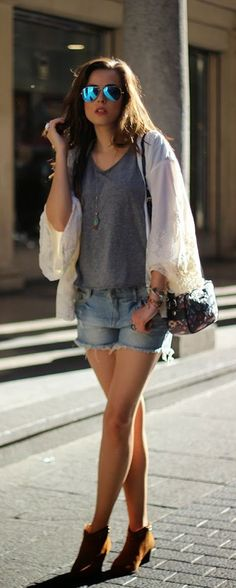 LoLus Fashion: Lace kimono and ankle bootie !