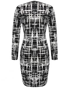 Brand: ANGVNS  Material: Polyester  Color: Black&White  Collar: O-Neck  Sleeve: Long Sleeve  Style: Elegant  Zipper: Back Zipper  Dress Length: Knee Length  Pattern: Printed  Occasion: Casual, Office  Garment Care: Hand-wash and Machine washable, Dry Clean  Unique style, create a illusion for stunning curves, make you more beautiful, fashion, sexy and elegant.   Size  US Size  UK Size  EU Size  AU Size  Shoulder  Sleeve  Chest  Waist  Hip  Length M M(8-10) 12-14 40-42 12 37 cm 14.4 inch 60…
