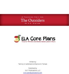 Common-Core based lesson plans for the novel The Outsiders  This is great!