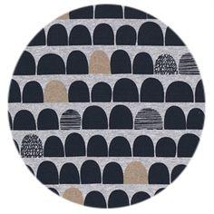 Økologisk jersey stof gråmeleret med print i sort og kobber