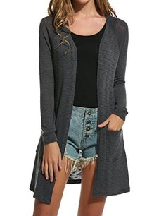 Meaneor Womens Casual Open Front Long Sleeve Knitted Cardigan Sweater Grey XL *** Read more reviews of the product by visiting the link on the image.