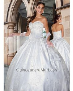 Wonderful White Embroidery Sweetheart Beading Quinceanera Gown
