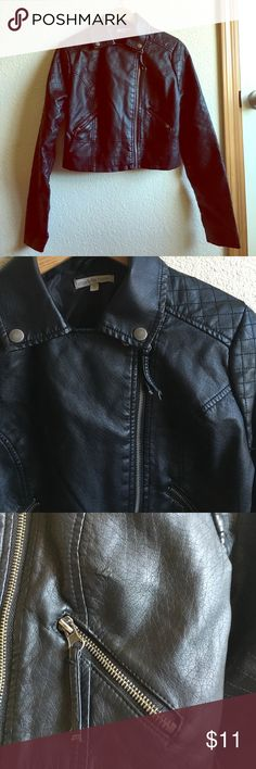 Cropped black leather jacket medium Preowned all functions working and only minor blemishes not visible except for up close. Small amount on cuffs, as shown in photo and some on neckline from hanger. Good used condition and very fashionable. Snaps are just for show, all zippers work perfectly Charlotte Russe Jackets & Coats