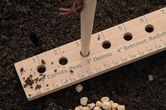 So clever! Drill holes through a yardstick and start planting your seeds. It takes the guesswork out of spacing.