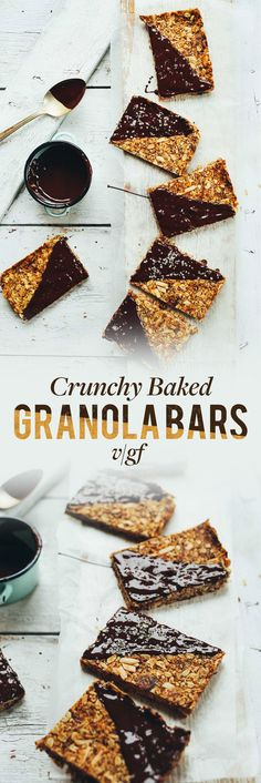 THE BEST Crunchy Baked Granola Bars! Naturally sweetened, 9 basic ingredients, SO delicious! #vegan #glutenfree #plantbased #granolabar #healthy #recipe