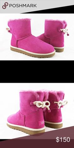 New Hot Pink Uggs Size 8 never worn Ugg Selene Bailey Bow Furious Fuchsia Pink Fur Boots *** New*** with box never worn! Will consider lower offers. UGG Shoes Winter & Rain Boots
