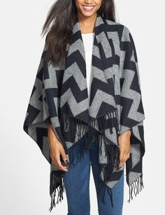 The tassels and chevron print add fun to this poncho!