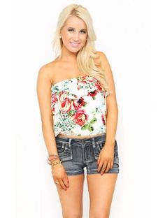 Watercolor Roses Tube Top#SFLSummerLove