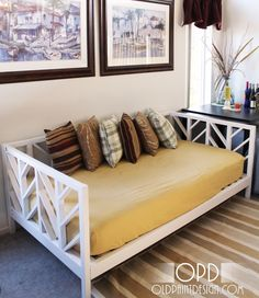 I was just admiring last night the West Elm day bed that the originator of this project was inspired by. While I don't think I would attempt the herringbone pattern here, It seems like a very do-able project for my husband and I to attempt. I would like to make a multi-use guest-room now that my kids are all (more-or-less) out of the house.