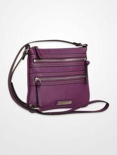 Nine West Black Cross-Body Zipper Bag $16.99 #red #purple #black #purse #handbag