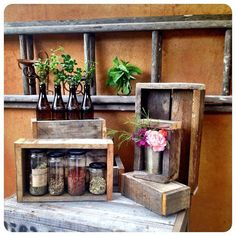 Recycled wooden pallet box rustic vintage wedding table piece display box timber crate