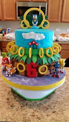 Sonic the hedgehog cake Sonic Birthday, Hedgehog Birthday, 4th Birthday, Torta Sonic, Sonic The Hedgehog Cake, Coron, Kid Parties, Party Cakes, Santiago