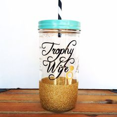 Personalized Tumbler Mason Jar by TwinkleTwinkleLilJar Plastic Tumblers, Tumblers With Lids, Wine Tumblers, Mason Jar Tumbler, Mason Jars, Diy Jars, Personalized Tumblers, Silhouette Projects, Hot Coffee