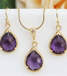Purple and gold bridal accessories
