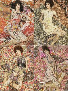 Steven Meisel Vogue Italia Amazing blending of prints and patterns,inspired by Gustav Klimt.