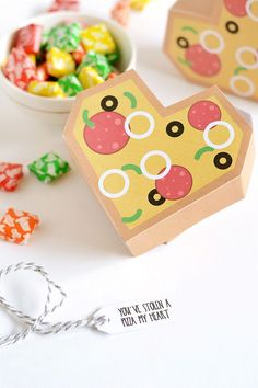 Printable pizza heart gift boxes