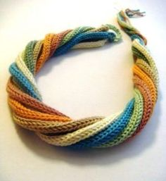 Multicolor crochet headband or necklace for woman and girl – french knitting ideas Crochet Crafts, Yarn Crafts, Crochet Projects, Knit Crochet, Spool Knitting, Knitting Patterns, Textile Jewelry, Fabric Jewelry, Knit Patterns