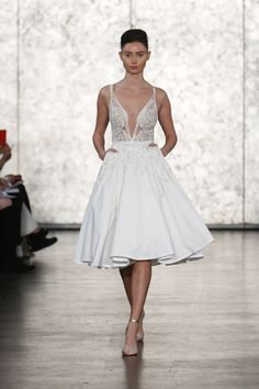 A-line cocktail wedding dress with plunging v-neck and pockets by @inbaldror1 | Bridal Market Fall 2016