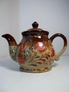Crockery Pottery Tea Pot Hand Painted Original by FolkArtByNancy, $35.00