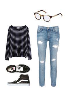 Halte dein Outfit möglichst super casual mit zerrissenen Jeans, einem Streifenshirt und einem Farbtupfer dank einer Brille von rocco by Rodenstock.