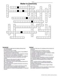 Lab equipment crossword with diagram part 1 free editable matter in chemistry crossword puzzle ccuart Gallery