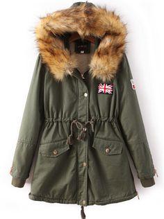 Abrigo Union Jack con capucha pelo-Verde