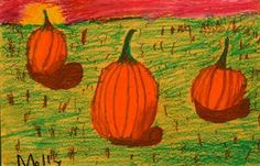 Artsonia Art Gallery - 2ND GRADE LANDSCAPE WITH 3 PUMPKINS '14-'15