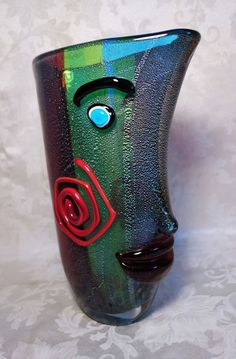 Vintage MURANO Ann Primrose Art Glass Vase Abstract Picasso Style Face
