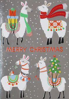 print & pattern: December 2018 Llama Christmas, Noel Christmas, Christmas Animals, All Things Christmas, Winter Christmas, Christmas Crafts, Christmas Ornaments, Alpacas, Images Lama