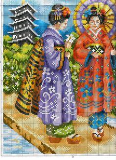 Japanese women of Counted Cross Stitch Patterns, Cross Stitch Charts, Cross Stitch Designs, Brother Innovis, Cross Stitch Flowers, Dot Painting, Christmas Cross, Crochet, Needlepoint