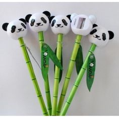 This pencil set includes one pencil with bamboo pattern and one pencil sharpened in the shape of a panda head. A great gift for panda lovers. Pencil: and Panda Birthday Party, Panda Party, Bear Birthday, 2nd Birthday, Panda Love, Cute Panda, Panda Kawaii, Panda Craft, Cute Stationery