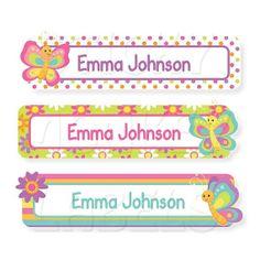 Standard Childrens Labels, Waterproof Dishwasher Safe Labels for Children - Butterflies School Name Labels, School Supply Labels, Name Stickers, Diy Stickers, Notebook Labels, Classroom Organisation, Alphabet For Kids, Printable Labels, Butterfly