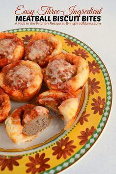 Kids in the Kitchen - Easy (3 Ingredient!) Meatball Biscuit Bites - (sponsored)