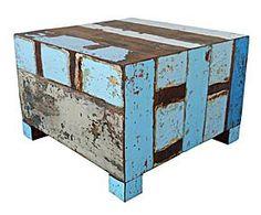 Mesa de centro cubo – azul decapado