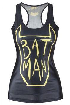 Women's Autumn and Winter Vest 2017 Sexy Cool Bat Man Girl Vest LC25321 Feminino Vest Women Print