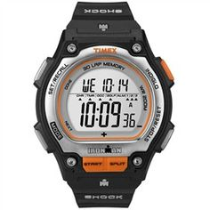 The Timex Ironman Shock Steel (Black & Orange) 30 Lap is a watch with improved functionality and shock resistant durability.