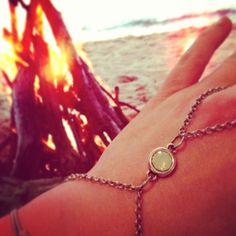Boho beach armband minty