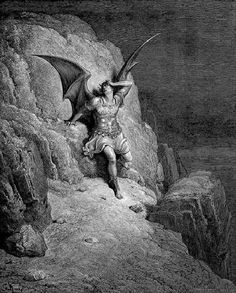 Illustration of Lucifer from Paradise Lost by Gustave Dore Gustave Dore, Rockwell Kent, Norman Rockwell, Lost Paradise, John Milton Paradise Lost, Satanic Art, Arte Obscura, Arte Horror, Angels And Demons