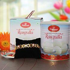 Send Golden bracelet rakhi with delicious rasgulla for this rakhi festival 2017