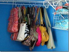 purse storage on shower curtain hangers!