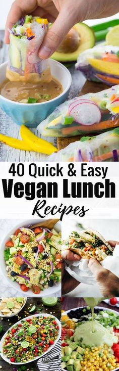 If you're looking for vegan lunch ideas for work or school, you will LOVE this roundup of 40 amazing vegan lunch recipes! So many delicious vegan sandwiches, vegan salads, vegan wraps, and more in just one place!