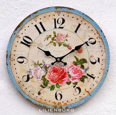 Uhr Wanduhr weiß Vintage antik Retro Nostalgie Landhaus Paris Shabby Rosen groß