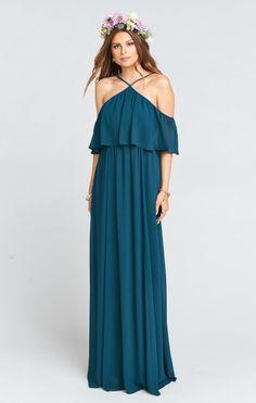 Rebecca Ruffle Maxi Dress ~ Deep Jade Chiffon