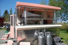 Futuristic design on front end of vintage 1961 Holiday House travel trailer
