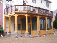 pictures of under deck screen porch | screened porch under deck. stone on pillars | Cool Stuff for our Pool