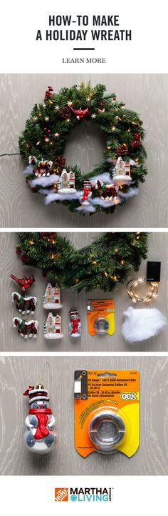 Get your home ready for holiday guests with this DIY project using the Martha Stewart Living holiday collection, available exclusive at The Home Depot. Learn how to create a festive wreath for the holidays in 3 easy steps! Noel Christmas, Diy Christmas Ornaments, Homemade Christmas, Simple Christmas, Christmas Projects, All Things Christmas, Holiday Crafts, Christmas Decorations, Christmas Music
