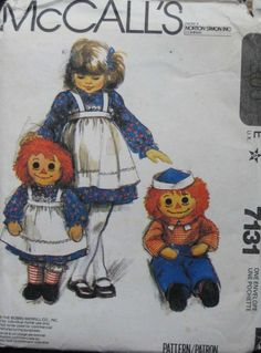 Vintage Raggedy Ann Doll | Vintage McCalls Raggedy Ann and Andy Doll Pattern by TheHowlingHag, $9 ...